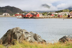 Ballstad norway. Sea clouds sky boats colors houses Stock Photography
