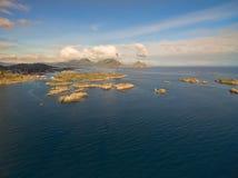 Ballstad. Scenic aerial view of islets near fishing village of Ballstad on Lofoten islands in Norway royalty free stock photos