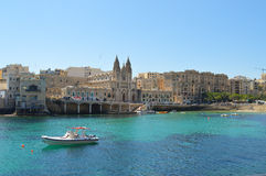 Balluta海湾,朱利安的圣,马耳他 库存照片
