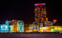 Bally's and colorful buildings at night in Atlantic City, New Je Royalty Free Stock Image