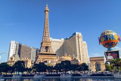 Las Vegas, Bally`s Hotel, and Paris Hotel and Casino, View from Bellagio Fountains royalty free stock photography