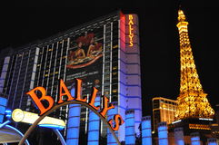 Bally's Las Vegas and Paris Eiffel Tower Replica in Las Vegas Royalty Free Stock Image