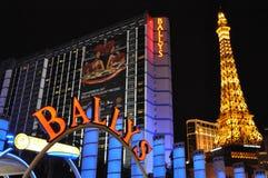 Bally's Las Vegas and Paris Eiffel Tower Replica in Las Vegas Royalty Free Stock Image