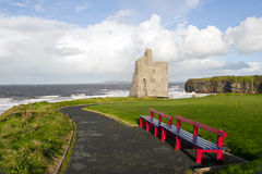 Ballybunion beach and castle bench view Royalty Free Stock Photos