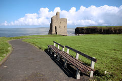 Ballybunion castle ruin view. Benches with a view of atlantic and castle in ballybunion Royalty Free Stock Photos