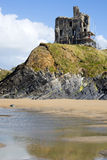 Ballybunion castle with scafolding on cliff Royalty Free Stock Photo