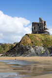 Ballybunion castle with scafolding. Ballybunion castle surrounded by scafolding while under repair Royalty Free Stock Photos