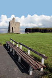 Ballybunion castle view. Benches with a view of atlantic and castle in ballybunion Stock Photography