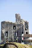 Ballybunion castle with work men scafolding. Ballybunion castle surrounded by scafolding while under repair Royalty Free Stock Photography
