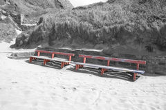 Ballybunion seaside benches and sand drifts Royalty Free Stock Image