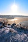 Ballybunionkasteel en strand van de kersttijd in sneeuw Royalty-vrije Stock Afbeelding