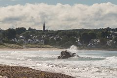 Landscape of Ballycastle beach, Northern Ireland. Ballycastle Beach is a popular tourist destination located on the Causeway Coastal Route on the Antrim Coast stock image