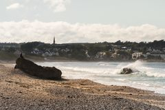 Landscape of Ballycastle beach, Northern Ireland. Ballycastle Beach is a popular tourist destination located on the Causeway Coastal Route on the Antrim Coast stock photo