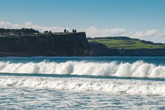 Landscape of Ballycastle beach, Northern Ireland. Ballycastle Beach is a popular tourist destination located on the Causeway Coastal Route on the Antrim Coast royalty free stock photography