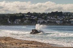 Landscape of Ballycastle beach, Northern Ireland. Ballycastle Beach is a popular tourist destination located on the Causeway Coastal Route on the Antrim Coast royalty free stock photo