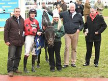 Horse Racing. Ballyhill 1st with connections at cheltenham races 1-1-18 Stock Images