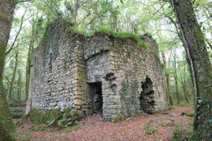 Ballykine Castle, Clonbur, Co. Galway, Ireland. Ruins of Ballykine Castle in woods of Clonbur, Co. Galway, Ireland Stock Images
