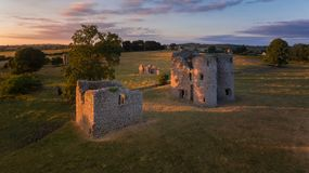 Ballyloughan Castle. Bagenalstown. county Carlow. Ireland. Aerial view. Ballyloughan Castle at sunset. near Bagenalstown. county Carlow. Ireland stock images