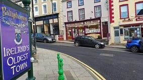 Ballyshannon/Irlanda - 20 de febrero de 2019: La muestra está explicando que Ballyshannon es la ciudad más vieja de Irelands almacen de metraje de vídeo