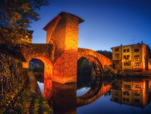 Balmaseda bridge illuminated at night. Balmaseda bridge illuminated at the night stock image