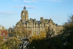 Balmoral Hotel along Princes Street Gardens, in Edinburgh, Scotland. Balmoral Hotel and other historic buildings along Princes Street Gardens in autumn, in stock photos