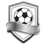Balón de fútbol del vector en el fondo de plata emblema del fútbol para los juegos de fútbol en línea, banderas, cartel Imagen de archivo
