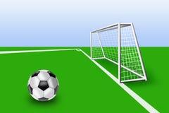 Balón de fútbol en el campo antes de collares Fotografía de archivo libre de regalías