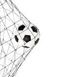 Balón de fútbol en la puerta neta Imagen de archivo