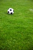 Balón de fútbol en un campo herboso Foto de archivo libre de regalías