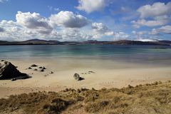 Balnakeil piaska i plaży diuny, Durness, Północno zachodni Szkoccy średniogórza Obrazy Stock