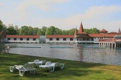 Balneal semesterort på sjön Heviz, Ungern Arkivbild