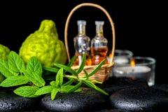 Balneario aromático del aceite esencial de las botellas en la cesta, menta fresca, ROS Imagen de archivo