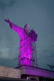 Illuminated Christ Statue at Cristo Luz Complex with repairs taking place - Balneario Camboriu, Santa Catarina, Brazil Royalty Free Stock Images