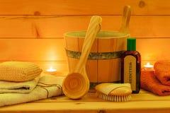 Balneario de la sauna fijado en la luz de una vela Imágenes de archivo libres de regalías