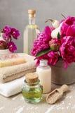 Balneario fijado: botellas de jabón líquido y de aceite esencial, toallas suaves a fotografía de archivo