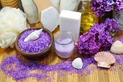 BALNEARIO - Sal aromática del mar y jabón perfumado, velas y aceite perfumado y accesorios del masaje para el masaje y el baño Imagen de archivo