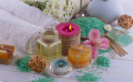 BALNEARIO y accesorios para el masaje oriental Imágenes de archivo libres de regalías