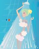 Balneario y belleza: Mujer debajo del baño de ducha Fotos de archivo libres de regalías