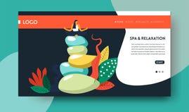 Balneario y plantilla de la página web del salón del centro o de belleza de la relajación libre illustration