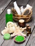 Balneario y productos y accesorios el cuidar en exceso Foto de archivo libre de regalías