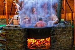 Balneology - badning i gjutjärnvats med mineralvattencontai royaltyfri foto