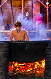 Balneology - Bathing in cast iron vats with mineral water contai Stock Photos