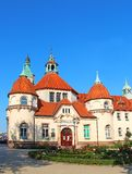 Balneology Building in Sopot, Poland. Historic Balneology Building and old Lighthouse in Sopot, Poland Stock Photos