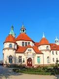 Balneology Building in Sopot, Poland. Historic Balneology Building and old Lighthouse in Sopot, Poland stock photos