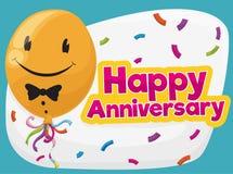 Balão de sorriso bonito pronto para a festa de aniversário, ilustração do vetor Fotografia de Stock Royalty Free