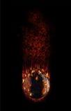 Balompié caliente que baja con el humo y las llamas Imagenes de archivo