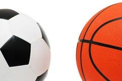 Balompié y baloncesto Foto de archivo