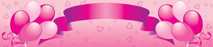 balonów sztandaru serc taśma Fotografia Royalty Free