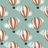 balon powietrza bealton latający cyrk gorąco show photgrphed va bezszwowy wzoru Wektorowa ręka rysująca doodle kreskówka royalty ilustracja