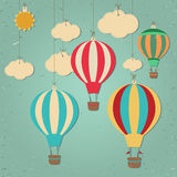 balon powietrza grunge gorąca ilustracyjna wersja nosicieli retro Zdjęcia Stock
